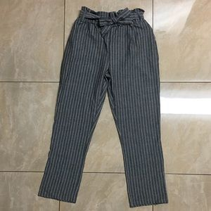 Pants - High-waisted striped taper pants